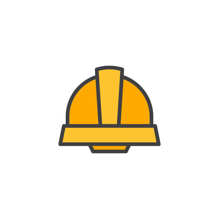 Safety helmet filled outline icon, line vector sign, linear colorful pictogram isolated on white. Symbol, logo illustration. Pixel perfect vector graphics