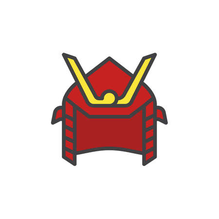 Samurai helmet filled outline icon, line vector sign, linear colorful pictogram isolated on white. Symbol, logo illustration. Pixel perfect vector graphics
