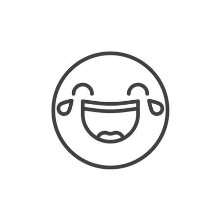 Face with tears of joy emoticon line icon, outline vector sign, linear style pictogram isolated on white. Emoji smiley symbol, logo illustration. Editable stroke