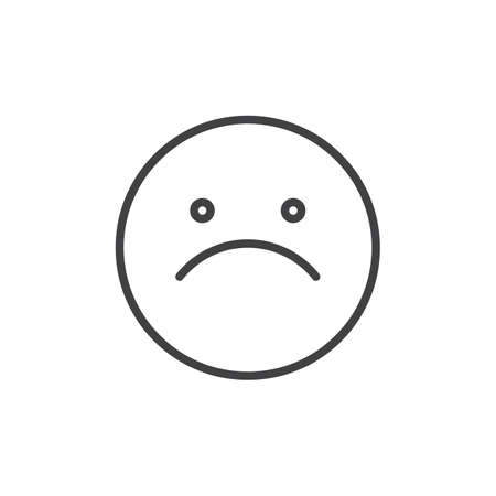 Slightly frowning face emoticon line icon, outline vector sign, linear style pictogram isolated on white. Emoji smiley symbol, logo illustration. Editable stroke
