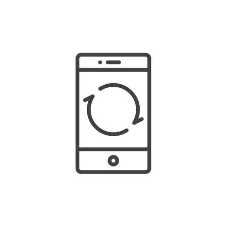 스마트 폰 다시로드 단추 라인 아이콘, 개요 벡터 기호, 선형 스타일 픽토그램 화이트 절연. 휴대 전화 기능 기호, 그림을 다시 시작합니다. 편집 가능 일러스트