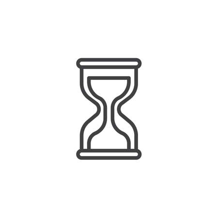 Hourglass line icon, outline vector sign, linear style pictogram isolated on white. Time management symbol, logo illustration. Editable stroke