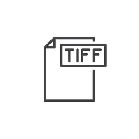 Tiff format document line icon, outline vector sign, linear style pictogram isolated on white. File formats symbol, logo illustration. Editable stroke