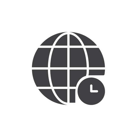Globe and clock icon vector, filled flat sign, solid pictogram isolated on white. Universal time symbol, logo illustration Stock Photo