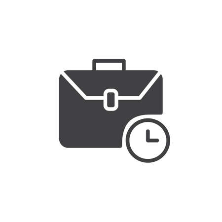 Briefcase with clock icon vector, filled flat sign, solid pictogram isolated on white. Time management symbol, logo illustration