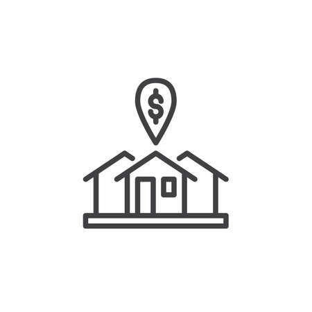 Rental house with dollar mark line icon, outline vector sign, linear style pictogram isolated on white. Real estate market location symbol, logo illustration. Editable stroke
