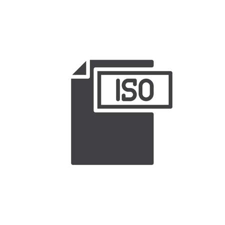 Iso format document iconctor, filled flat sign, solid pictogram isolated on white. File formats symbol,