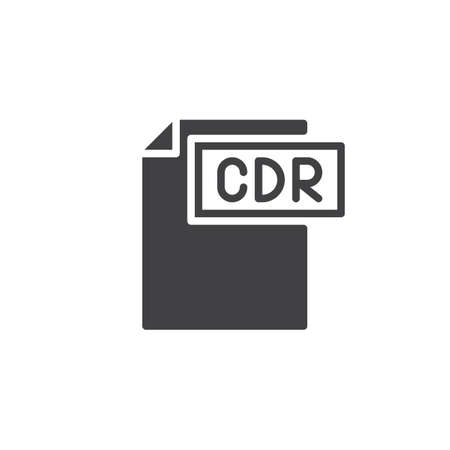 Cdr format document icon vector, filled flat sign, solid pictogram isolated on white. File formats symbol,