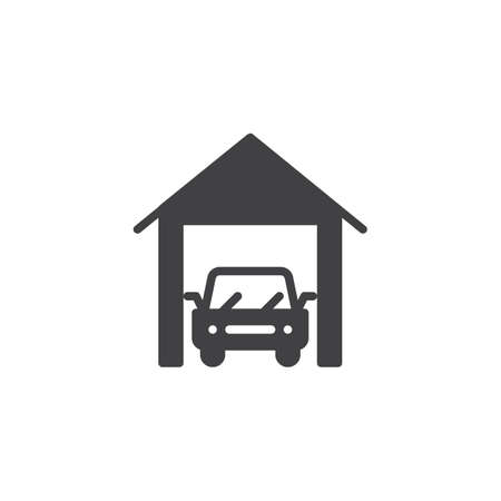 Car garage icon vector, filled flat sign, solid pictogram isolated on white. Indoor parking symbol, logo illustration.