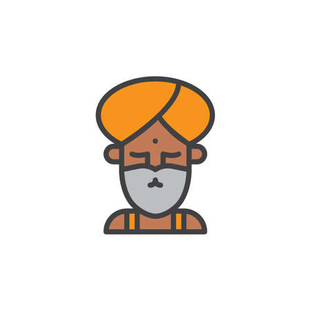 yogi: Fakir circus actor filled outline icon, line vector sign, linear colorful pictogram isolated on white. Symbol, logo illustration. Pixel perfect vector graphics. Illustration