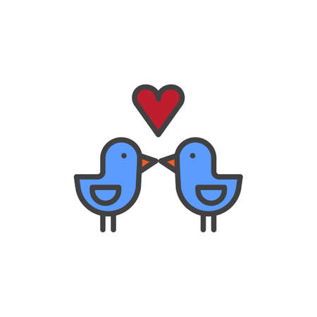 lovebird: Love birds with heart filled outline icon, line vector sign, linear colorful pictogram isolated on white.