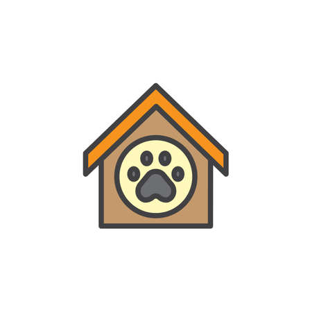 doghouse: Pet shelter filled outline icon, line vector sign, linear colorful pictogram isolated on white. Doghouse symbol, illustration. Pixel perfect vector graphics