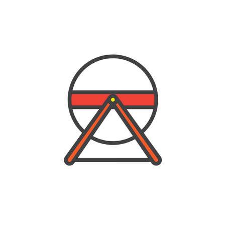 Hamsterrad füllte Entwurfsikone, Linie Vektorzeichen, lineares buntes Piktogramm, das auf Weiß lokalisiert wurde. Symbol, Abbildung. Pixel perfekte Vektorgrafiken Standard-Bild - 89874512