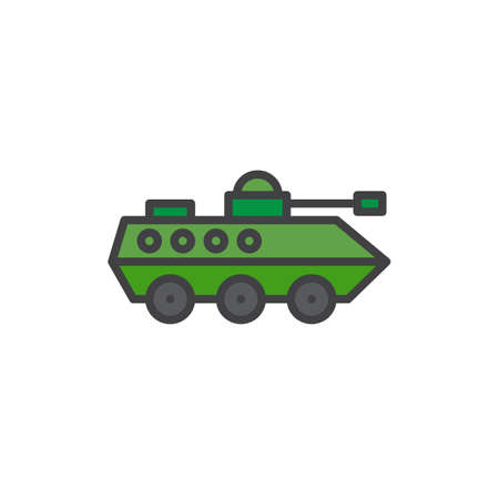 Amphibious military vehicle filled outline icon, line vector sign, linear colorful pictogram isolated on white. Infantry armored machine symbol, illustration. Pixel perfect vector graphics