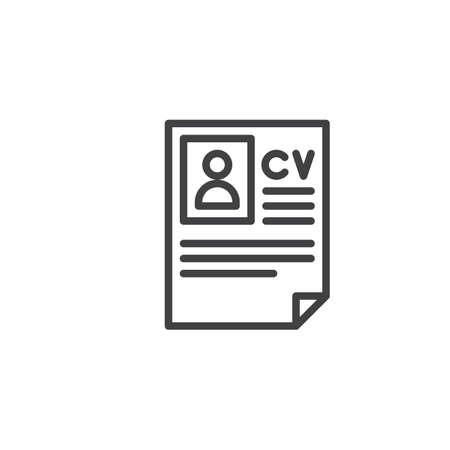 CV, Icono De Línea De Currículum, Muestra De Vector De Contorno ...