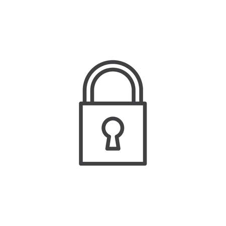 Padlock With Keyhole Line Icon Outline Vector Sign Linear Style Pictogram Isolated On White