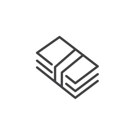Money bill line icon, outline vector sign, linear style pictogram isolated on white. Vettoriali