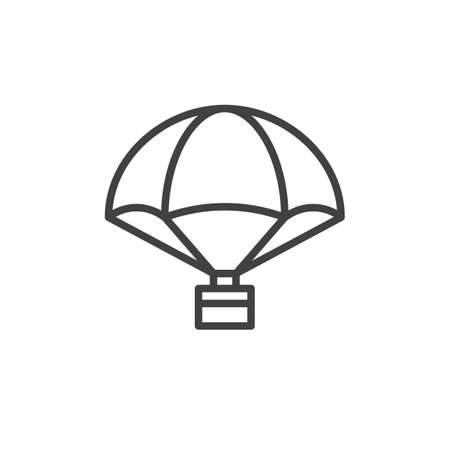 Parachute with cargo line icon, outline vector sign, linear style pictogram isolated on white. Delivery air balloon symbol, logo illustration. Editable stroke Stock Photo