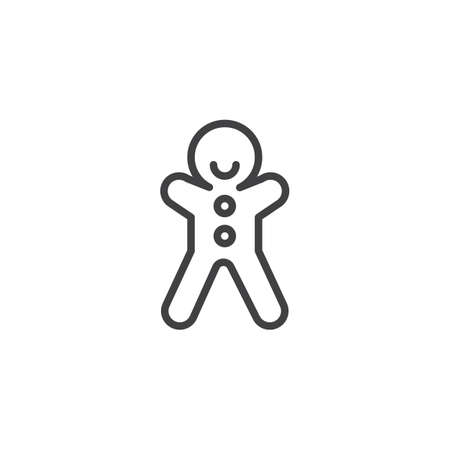 Gingerbread man biscuit line icon, outline vector sign, linear style pictogram isolated on white  background. Christmas sweets symbol, logo illustration. Editable stroke.