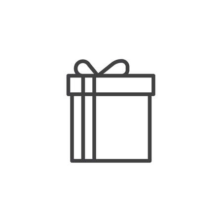 Christmas Gift Line Icon Outline Vector Sign Linear Style Pictogram Isolated On White