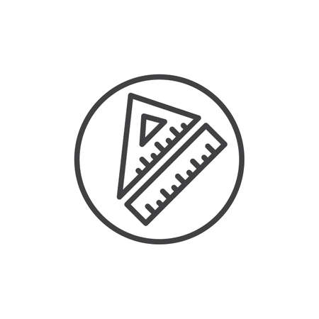 Triangle ruler line icon, outline vector sign, linear style pictogram isolated on white. Ruler school supplies symbol, logo illustration. Editable stroke Stock Photo