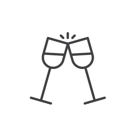 Glasses of champagne clinking line icon, outline vector sign, linear style pictogram isolated on white. Pair of champagne glass cheers symbol, illustration. Editable stroke
