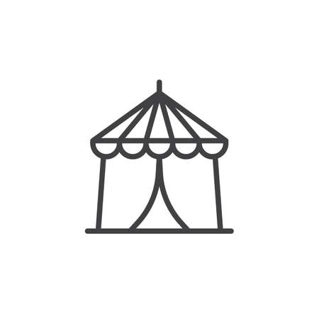Circus tent line icon, outline vector sign, linear style pictogram isolated on white. Carnival fast food cart symbol, illustration. Editable stroke