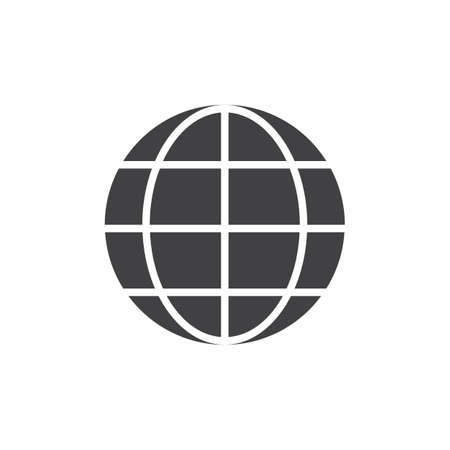 Earth grid icon vector, filled flat sign, solid pictogram isolated on white. Browser globe symbol, logo illustration.
