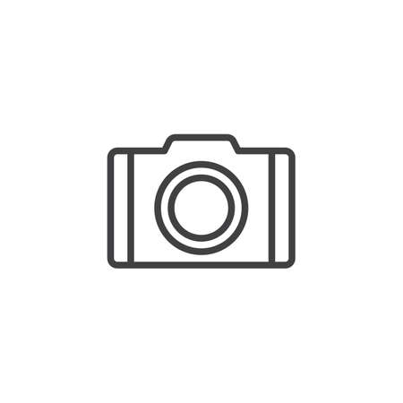 Camera line icon, outline vector sign, linear style pictogram isolated on white. Photo camera symbol, logo illustration. Editable stroke