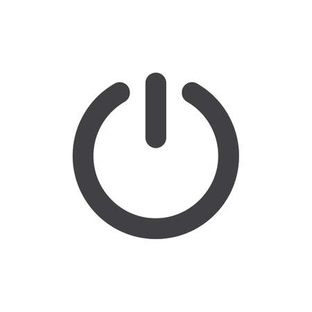 Start power button icon vector, filled flat sign, solid pictogram isolated on white. On Off switch symbol, illustration.