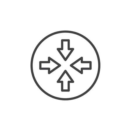 Four arrow line icon, outline vector sign, linear style pictogram isolated on white. Collide Arrows symbol, logo illustration. Editable stroke Ilustração