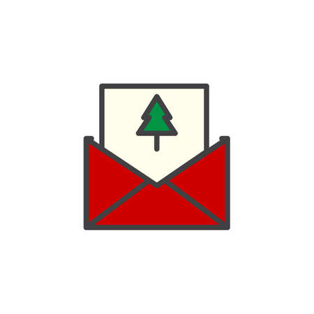 merry christmas card in an envelope filled outline icon line vector sign linear colorful - How To Sign A Christmas Card