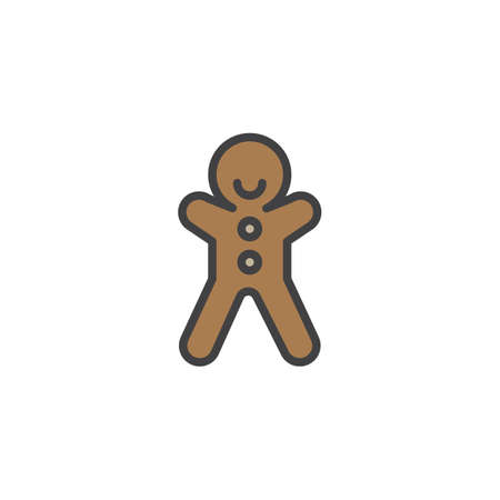 Gingerbread man biscuit filled outline icon, line vector sign, linear colorful pictogram isolated on white. Christmas sweets symbol, logo illustration. Pixel perfect vector graphics
