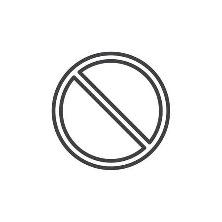 Access denied prohibition line icon, outline vector sign, linear style pictogram isolated on white.