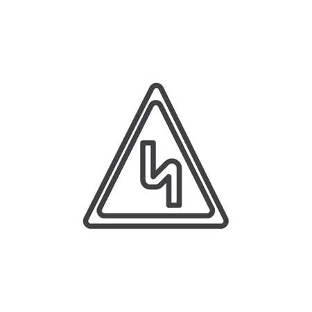 Curves ahead line icon, outline vector sign, linear style pictogram isolated on white. Illustration