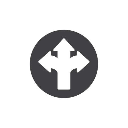Arrow cross, three-way icon vector, filled flat sign, solid pictogram isolated on white. Different directional arrows symbol, logo illustration.