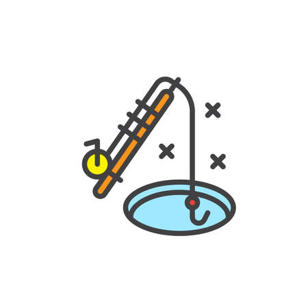 Winter ice fishing rod filled outline icon, line vector sign, linear colorful pictogram isolated on white. Illustration