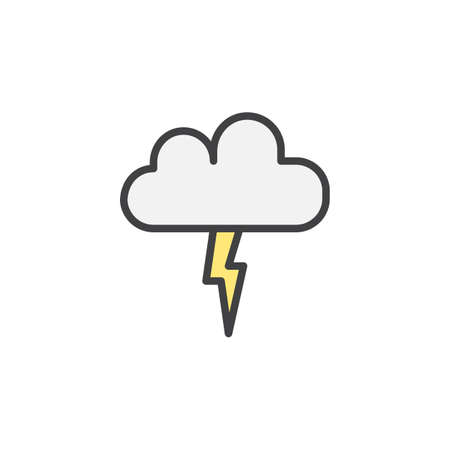 lightning thunderstorm cloud filled outline icon line vector sign linear colorful pictogram isolated voltagebd Choice Image