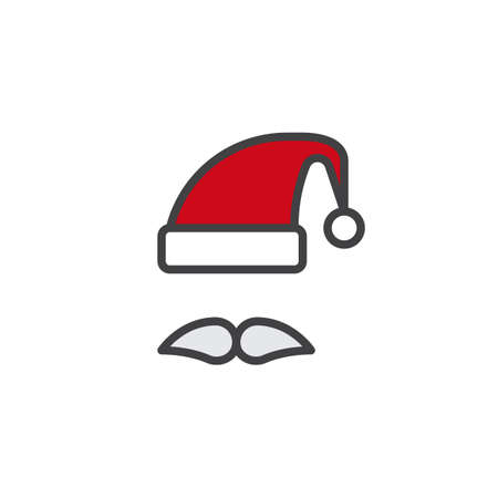 Santa clause hat and mustache filled outline icon, line vector sign, linear colorful pictogram isolated on white. Symbol illustration. Pixel perfect vector graphics
