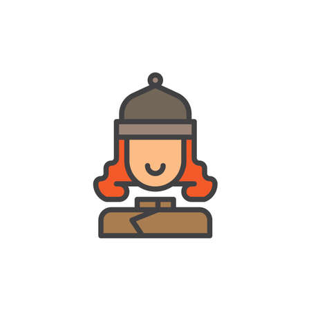 Woman in winter ski hat filled outline icon, line vector sign, linear colorful pictogram isolated on white. Symbol, logo illustration. Pixel perfect vector graphics Stock Photo
