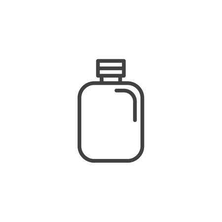 Camping flask line icon, outline vector sign, linear style pictogram isolated on white. Hip Flask symbol, logo illustration. Editable stroke Illustration
