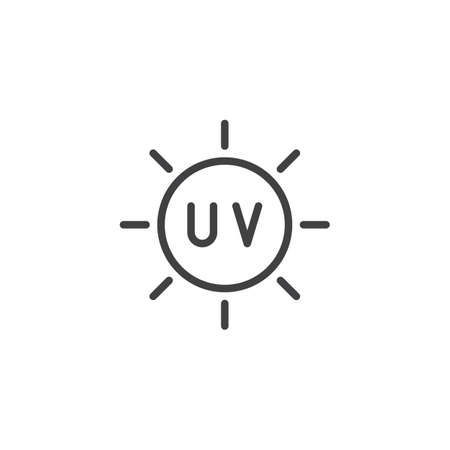 UV line icon, outline vector sign, linear style pictogram isolated on white. Ultra violet protection symbol, logo illustration. Editable stroke  イラスト・ベクター素材