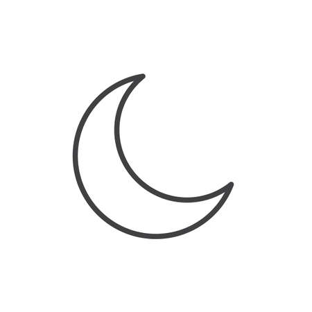 New Moon Line Icon Outline Vector Sign Linear Style Pictogram