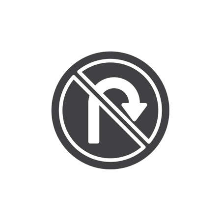 No U-Turn road sign icon vector, filled flat sign, solid pictogram isolated on white. Symbol, logo illustration.