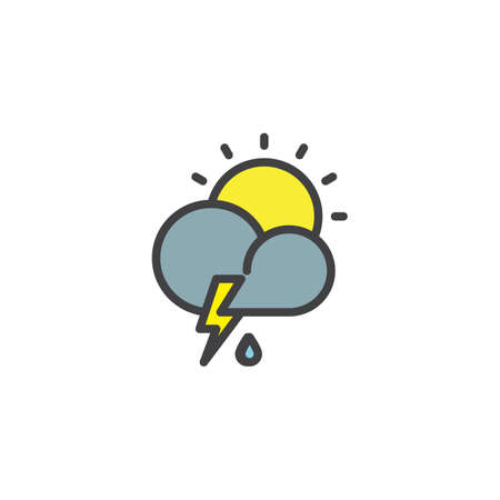 Cloud thunderstorm lightning rain filled outline icon, line vector sign, linear colorful pictogram isolated on white. Partly weather symbol, logo illustration. Pixel perfect vector graphics Illustration