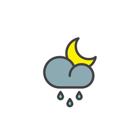 Rainy cloud and crescent filled outline icon, line vector sign, linear colorful pictogram isolated on white.  Night rain weather symbol, logo illustration. Pixel perfect vector graphics