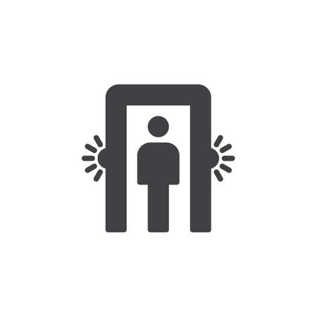 Passenger screening icon vector, filled flat sign, solid pictogram isolated on white. Metal detector gate symbol, logo illustration.