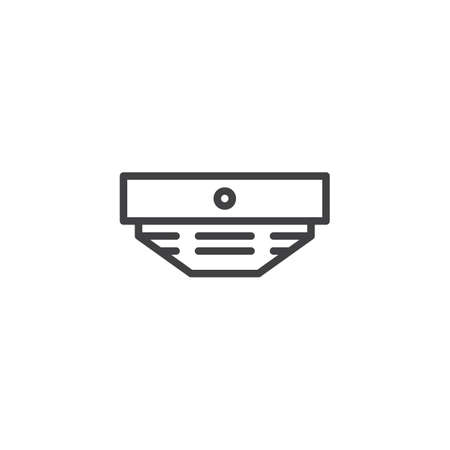 Smoke detector line icon, outline vector sign, linear style pictogram isolated on white. Fire fighting symbol, logo illustration. Editable stroke Illustration