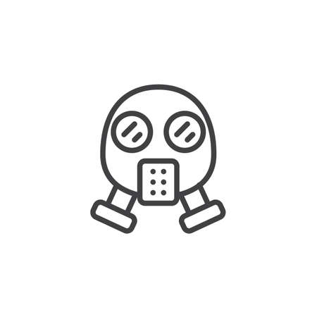 Gas mask line icon, outline vector sign, linear style pictogram isolated on white. Respirator symbol, logo illustration. Editable stroke Vectores