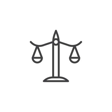 Balance, libra line icon, outline vector sign, linear style pictogram isolated on white. Justice scales symbol, logo illustration. Editable stroke